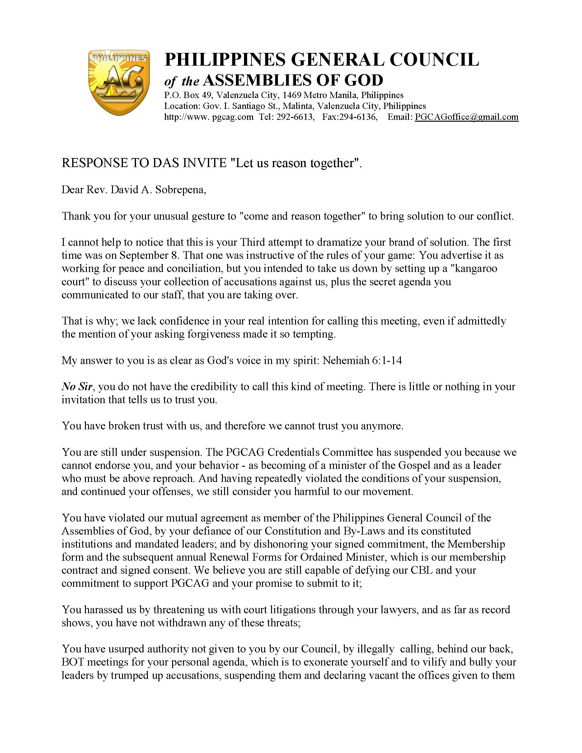 letter response to das